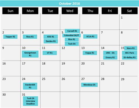 2016 Mba Application Deadlines Us by Updated Mba Application Deadlines Calendar 1
