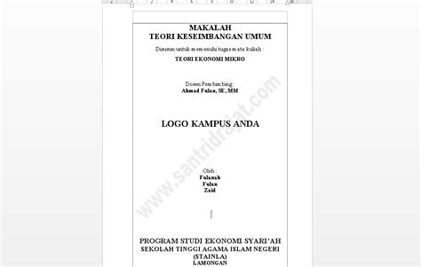 cara membuat makalah ekonomi download contoh makalah ekonomi mikro santri drajat