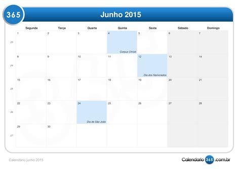 Calendario Junho 2015 Calend 225 Junho 2015