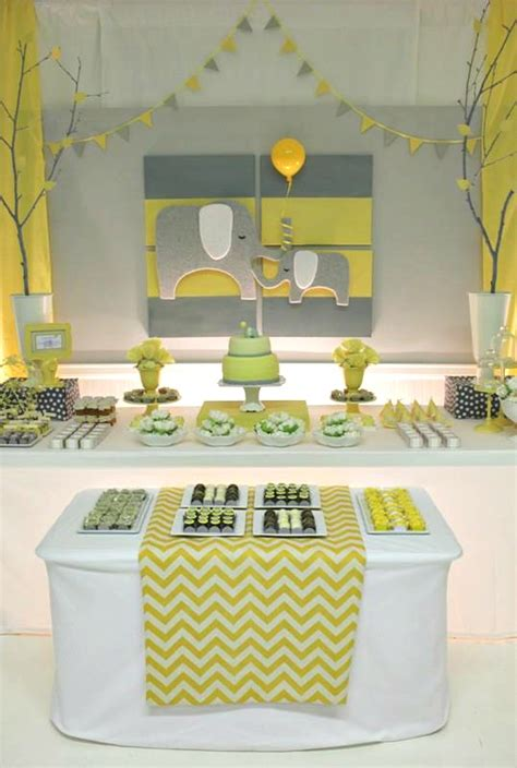 Baby Shower Elephant Decorations by Yellow Gray Chevron Baby Shower Ideas Elephant Theme