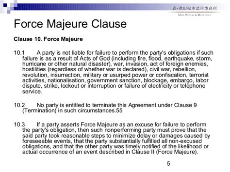 majeure clause template 高谷知佐子講演 the morning after dealing with post signing