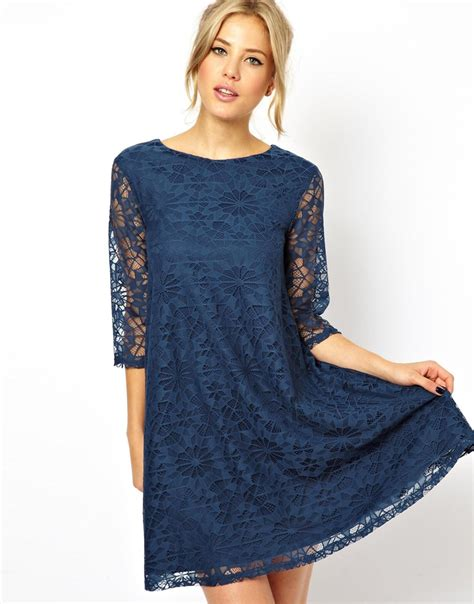 swing dress with lace sleeves asos swing dress in lace with half sleeve in blue lyst