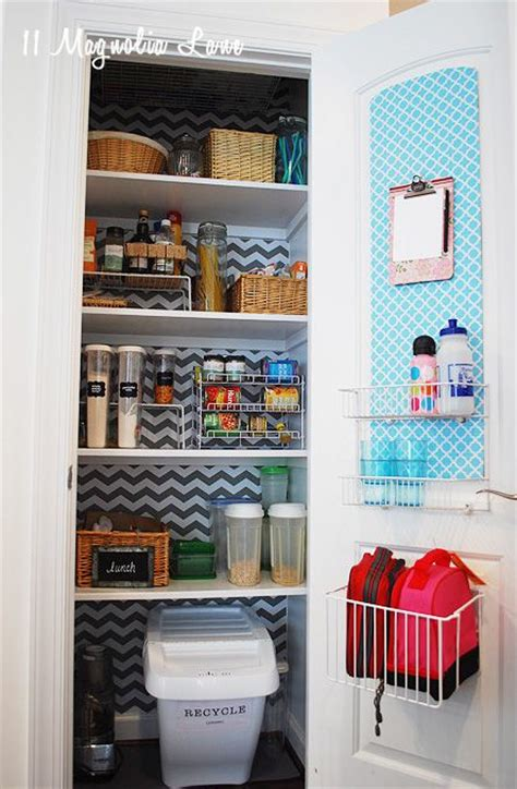 Pantry Shelf Liner Ideas by Organized Pantry With Chevron Shelf Paper Background