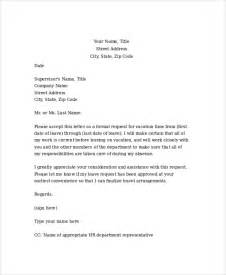 Request Letter Format For Vacation Leave Sle Formal Request Letter 8 Documents In Pdf Word