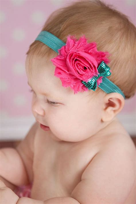 chiffon and sequin headband newborn baby and toddler hair bow shabby chic bows and