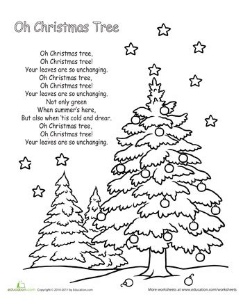 oh christmas tree lyrics worksheets christmas tree and