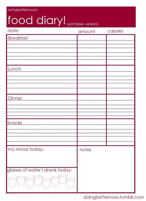 food log template food diary printable healthy living cases