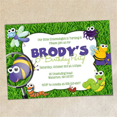 Bug Invitation Template Bugs Party Invitation Template Insects Bug Party Invite