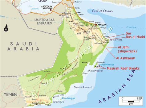 middle east map oman oman wannasurf atlas mondial de spots de surf