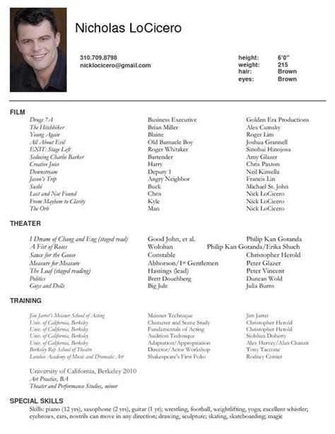 Actor Resume Sle by 16058 Actors Resume Template Actors Resume Template