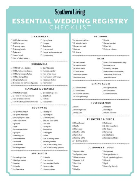 printable checklist for wedding registry bridal registry ideas mini bridal