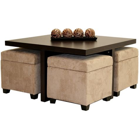 Coffee Table With Storage Ottoman Club Coffee Table With 4 Storage Ottomans Chocolate And Beige Walmart