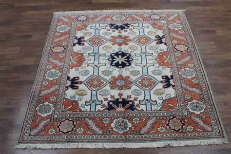 7x7 Area Rugs Plush Square Ivory Ziegler Sultanabad Wool Area Rug Carpet 7x7 Ebay