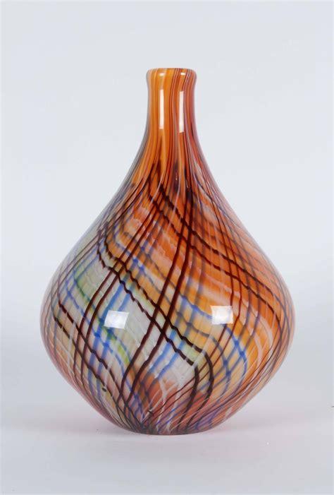 Glass Teardrop Vase by Striped Teardrop Glass Vase For Sale At 1stdibs
