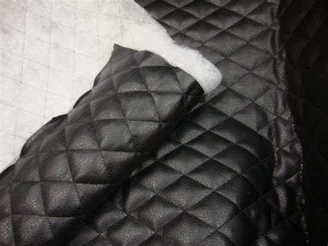 Quilted Leather Material by Black Quilted Faux Leather Fabric With 1 2 Batting Sheet