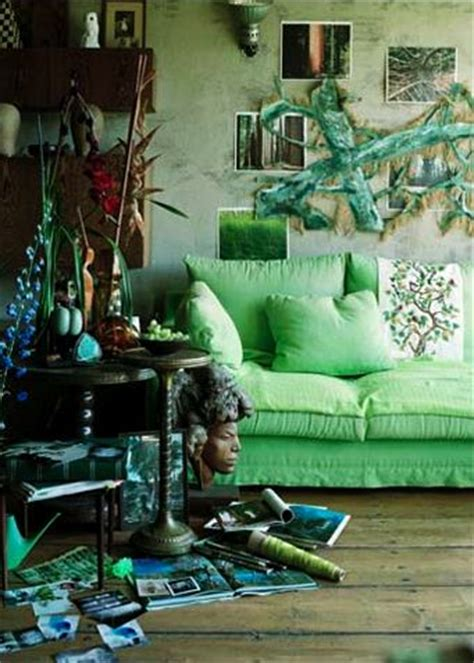 green  boho interiors  color