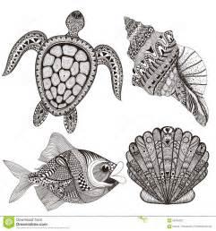zentangle stylized black sea shells fish and turtle hand