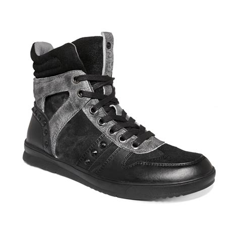 guess shoes for guess mens shoes tredd sneakers in black for lyst