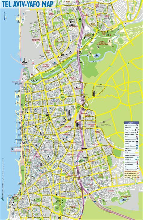 tel aviv map tel aviv sightseeing map