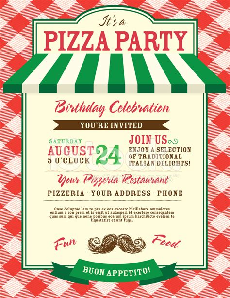 pizza and birthday party invitation design template stock