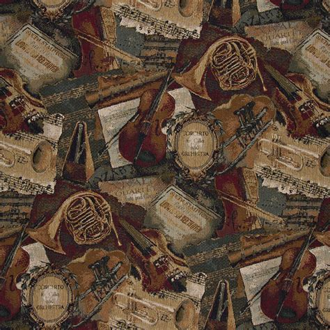 Themed Fabric Upholstery by Orchestra Symphony Violins Trumpets Theme Tapestry