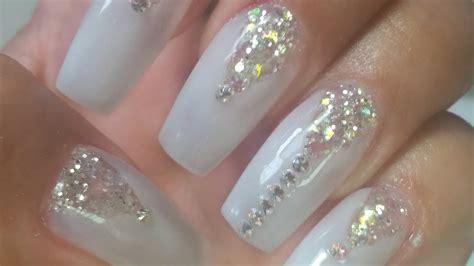 imagenes de uñas acrilicas con swarovski u 241 as acrilicas blanco traslucido estilo para novia by