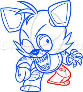 How to draw chibi foxy the fox from five nights at freddys step 9