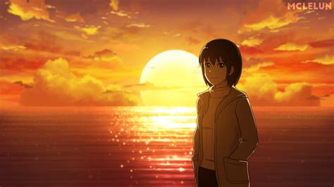 anime couple at sunset anime sunset by mclelun on deviantart