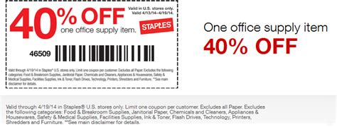 staples coupons 40 a single office supply item at