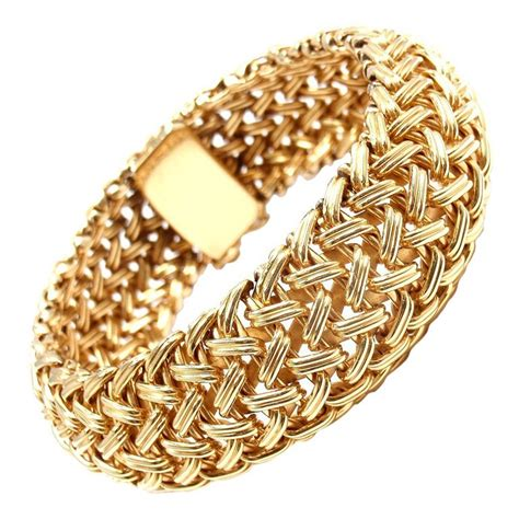 TIFFANY and CO Wide Woven Braided Yellow Gold Bracelet at 1stdibs