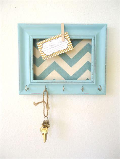 key holder wall key holder memo board wall hook home decor chevron frame organization tiffany blue 5 silver