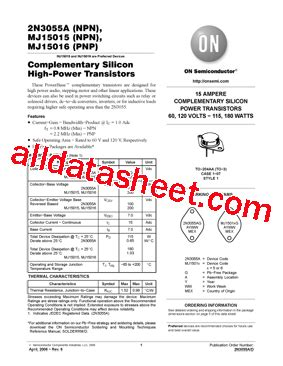 transistor 2n3055a 2n3055a datasheet pdf on semiconductor