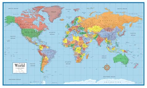 map world poster 48x78 world classic elite large wall map poster and mural