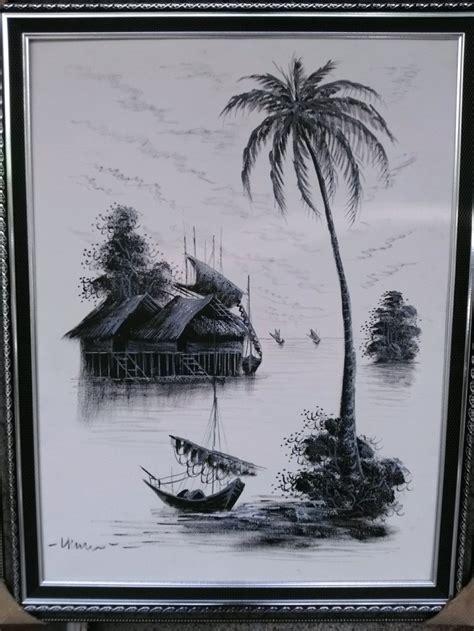 lukisan pemandangan kampung hitam putih arti