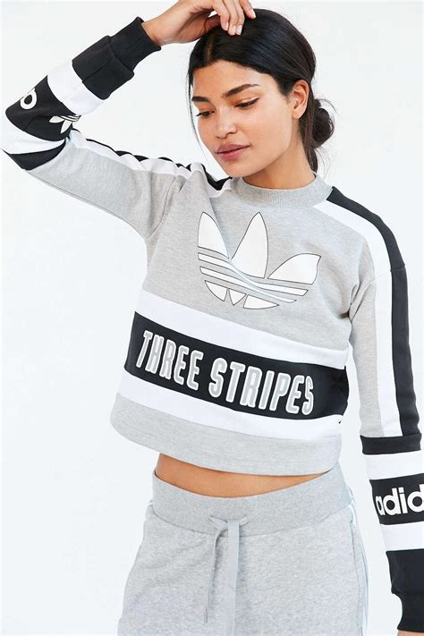 Sweater Adidas 3 Colors lyst adidas originals originals 80s moto cropped pullover sweatshirt in gray