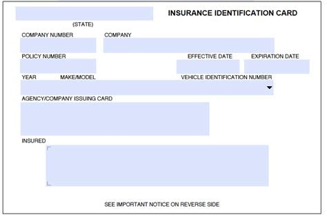 Blank Insurance Card Templates auto insurance card template