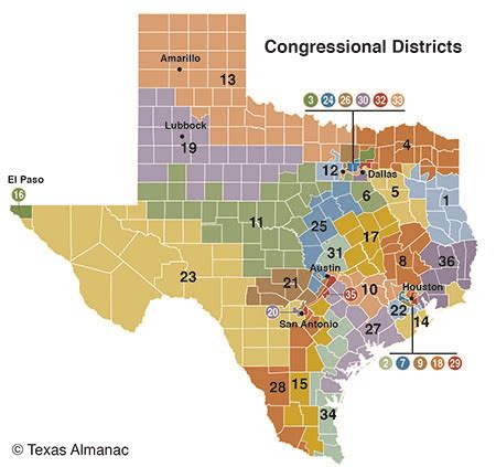 texas district map texas members of congress texas almanac