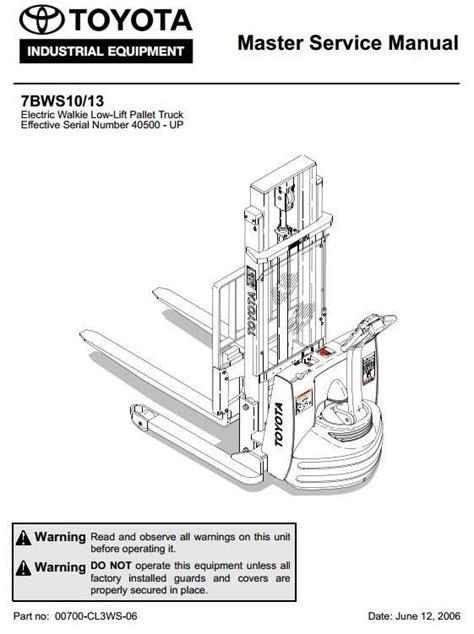 pallet parts diagram toyota electric walkie low lift pallet truck 7bws10