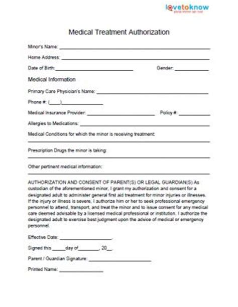 medical permission form for
