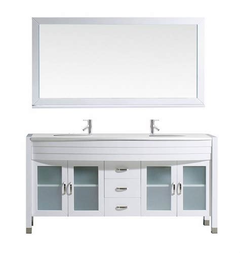 virtu usa 63 inch bathroom vanity cabinet set in white efurniture mart home decor