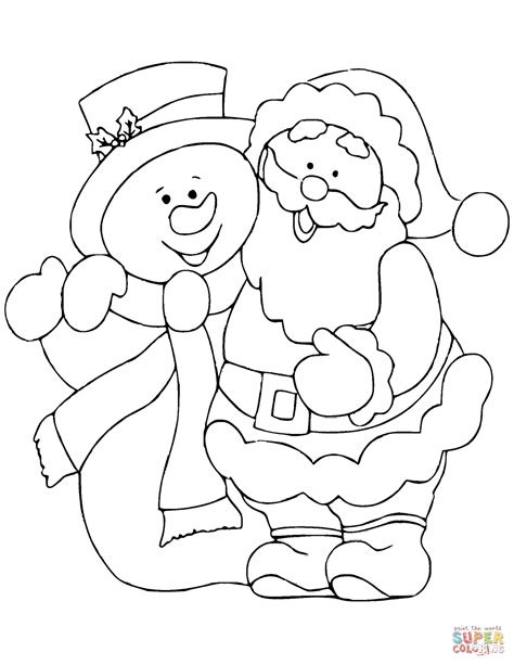 santa claus coloring pages santa claus with snowman coloring page free printable