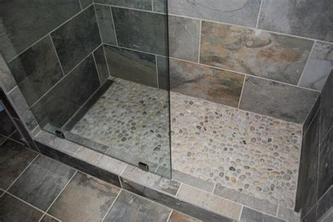 River Rock Bathroom Ideas by Mosaic Tile Company Slate Green Tile River Rock Shower Floor