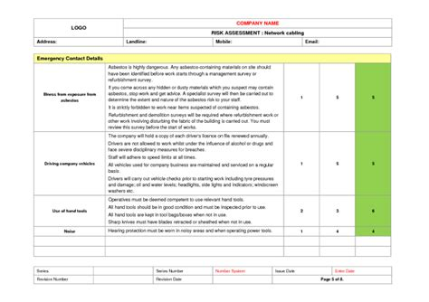 network risk assessment template network cabling risk assessment exle to