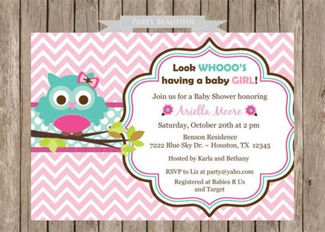 printable owl themed baby shower invitations owl baby shower invitation for girl pink chevron flowers