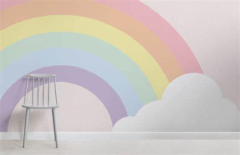 rainbow wallpaper for room pastel rainbow wallpaper mural murals wallpaper