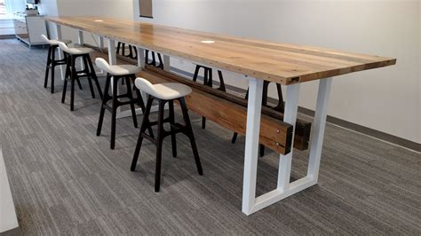 High Top Conference Table Handmade Large Reclaimed Wood And Steel Trestle Conference Table By Re Dwell Custommade