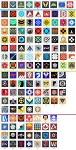 The top row are the emblems available by default the next section c
