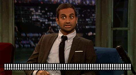 excited aziz ansari gif find amp share on giphy