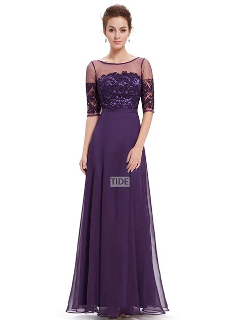 Maxi Violin Af purple lace sleeves v back sheath cheap chiffon pretty