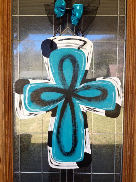 How To Make Wooden Door Hangers by Wooden Cross Door Hanger Painted Any Occasion
